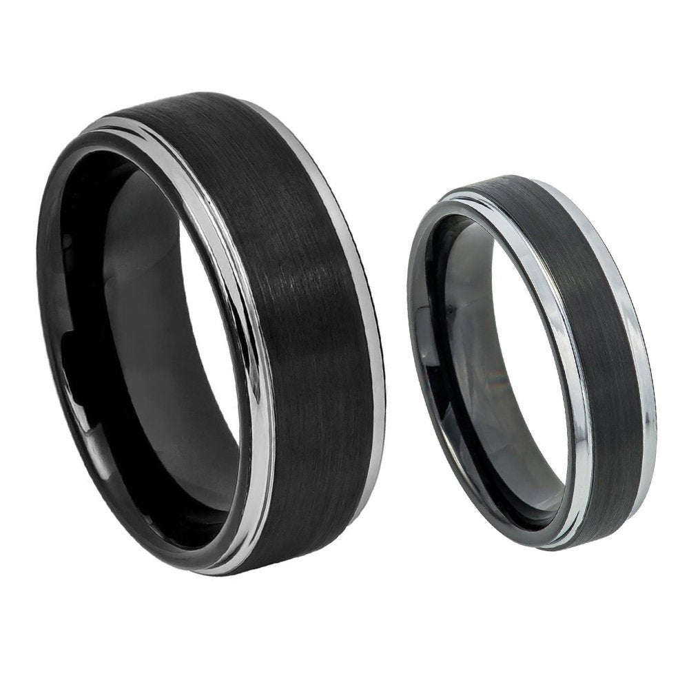 Custom Engraving - His & Hers 8mm/6mm Tungsten Carbide Black Plated Brushed Silver Step Edge Wedding Band Ring Set