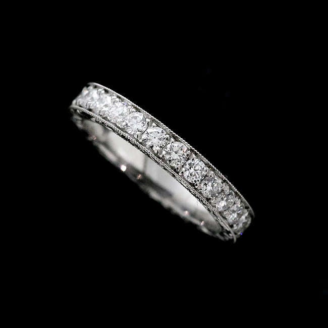 Over 1Ct Eternity Wedding Band, Diamond Hand Engraved Ring, Vintage Style Women's Platinum Band