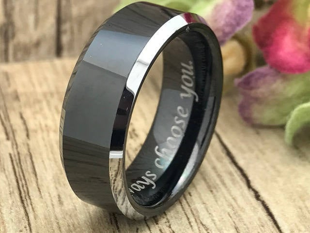 8mm Cobalt Chrome Ring, Personalized Engrave Black Plated Ring Wedding Band , Cobalt Father's Day Gift