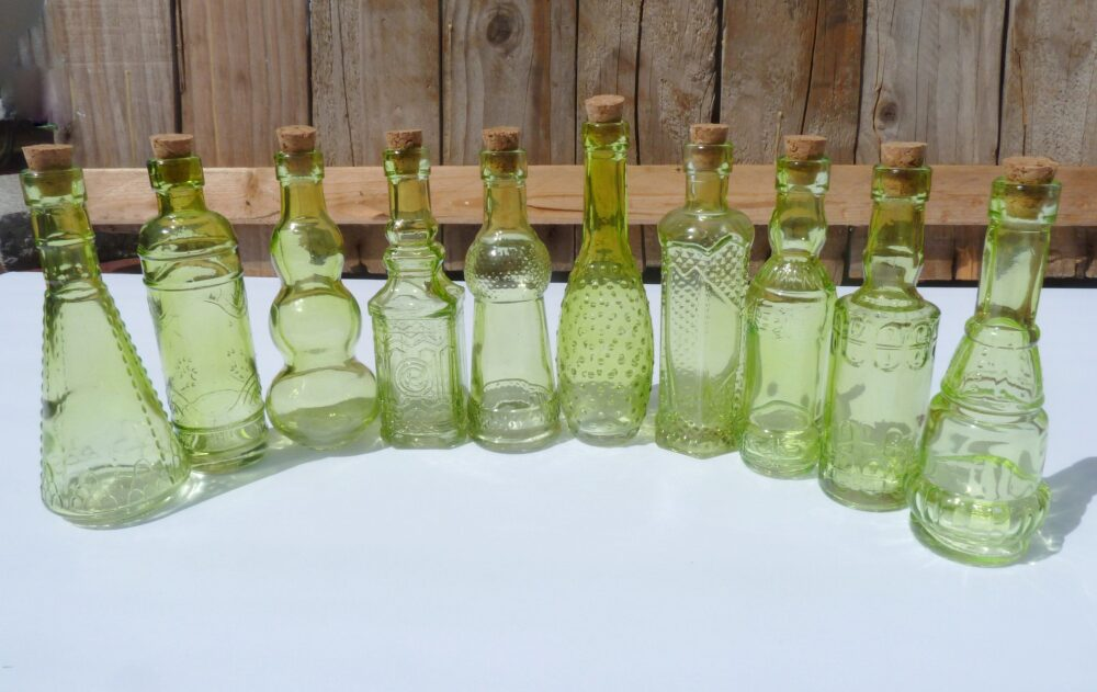 10 Green Glass Bottles 5 Inch Bottle Collection Bud Vase Vintage Wedding