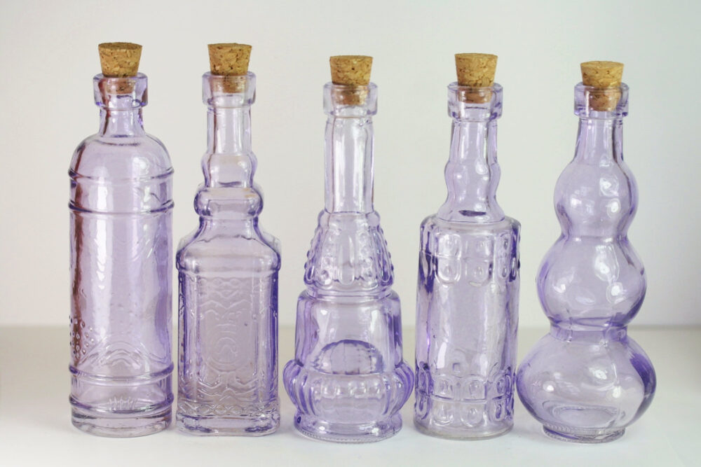 10 Purple Bottles 5 Inch Set Of Lilac Bud Vase Vases Lavender Favors Wedding Vintage