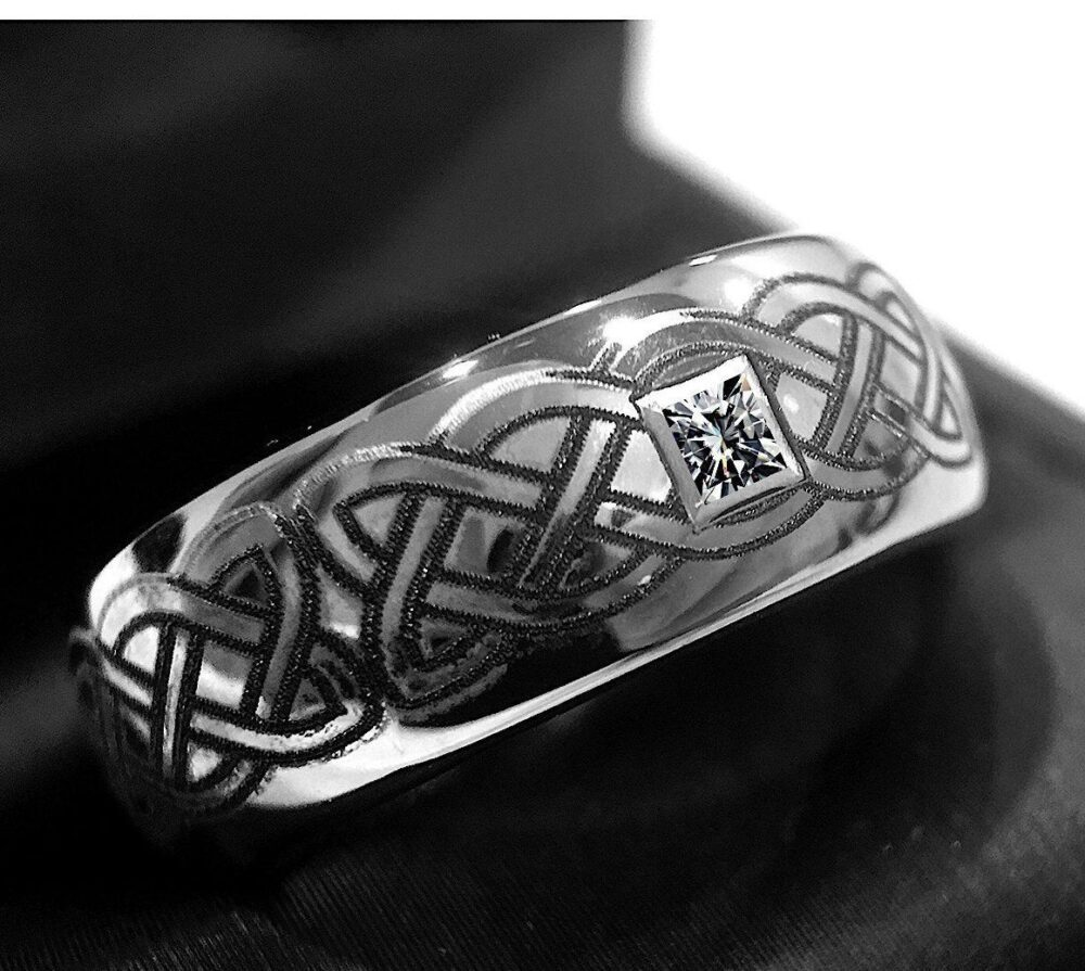 Mens Wedding Band, Tungsten Rings, Celtic, Bands, Celtic Design Ring, His & Her Promise Diamond Stone Ring
