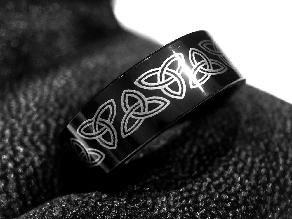 Mens Wedding Bands, Ring, Celtic Tungsten His, Hers Promise Ring Women Band Knot Black