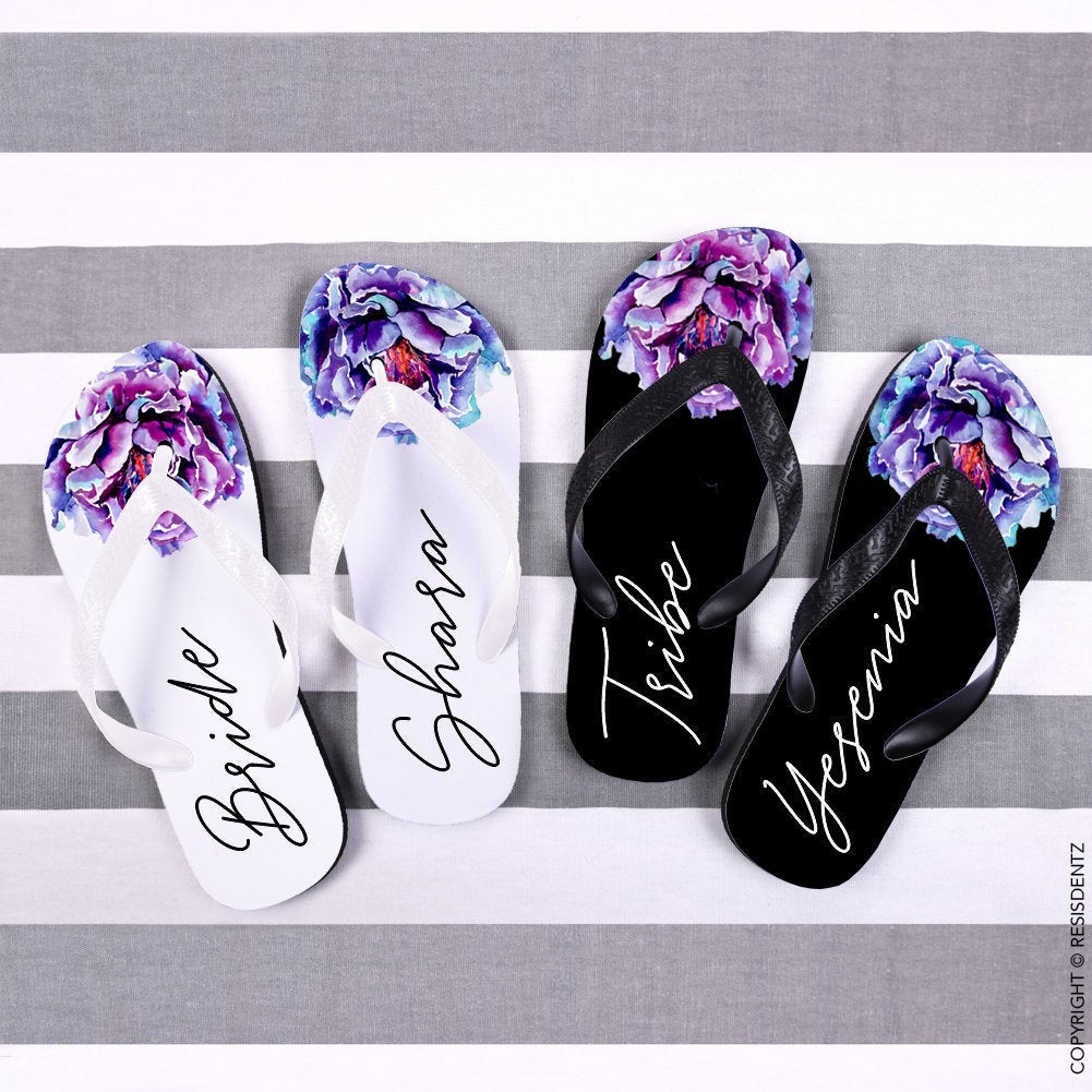 Custom Peony Floral Flip Flops, Bride & Bridesmaid Wedding Bachelorette Personalized Gift