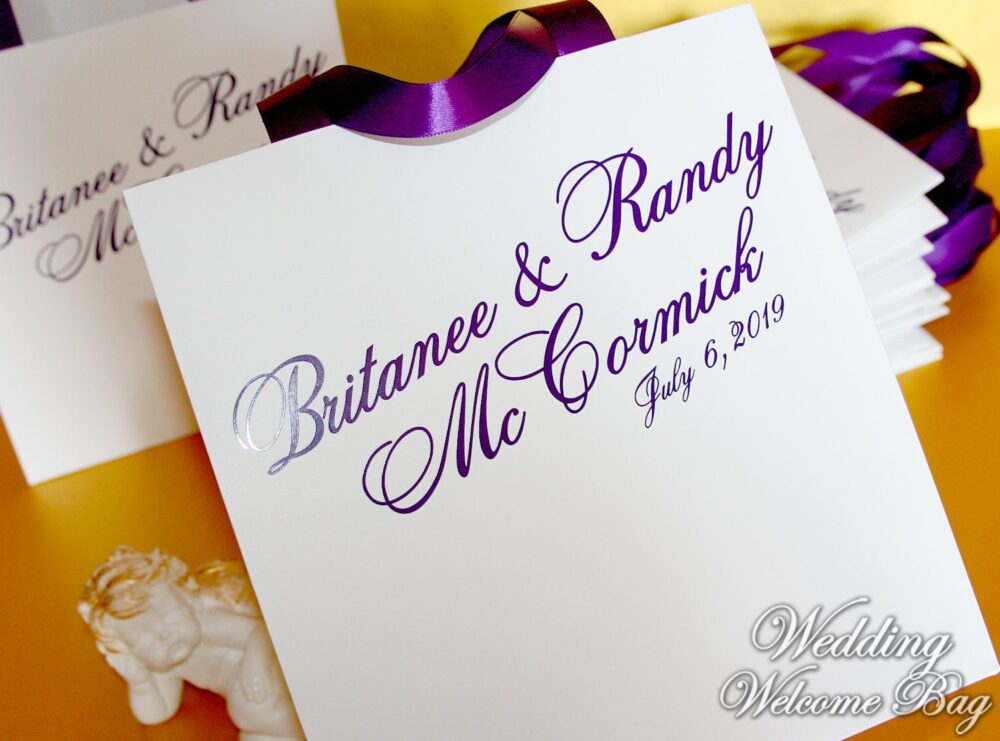 Personalized Wedding Favor Bags With Satin Ribbon & Names - Custom Gift Bags For Wedding Guests Welcome Paper