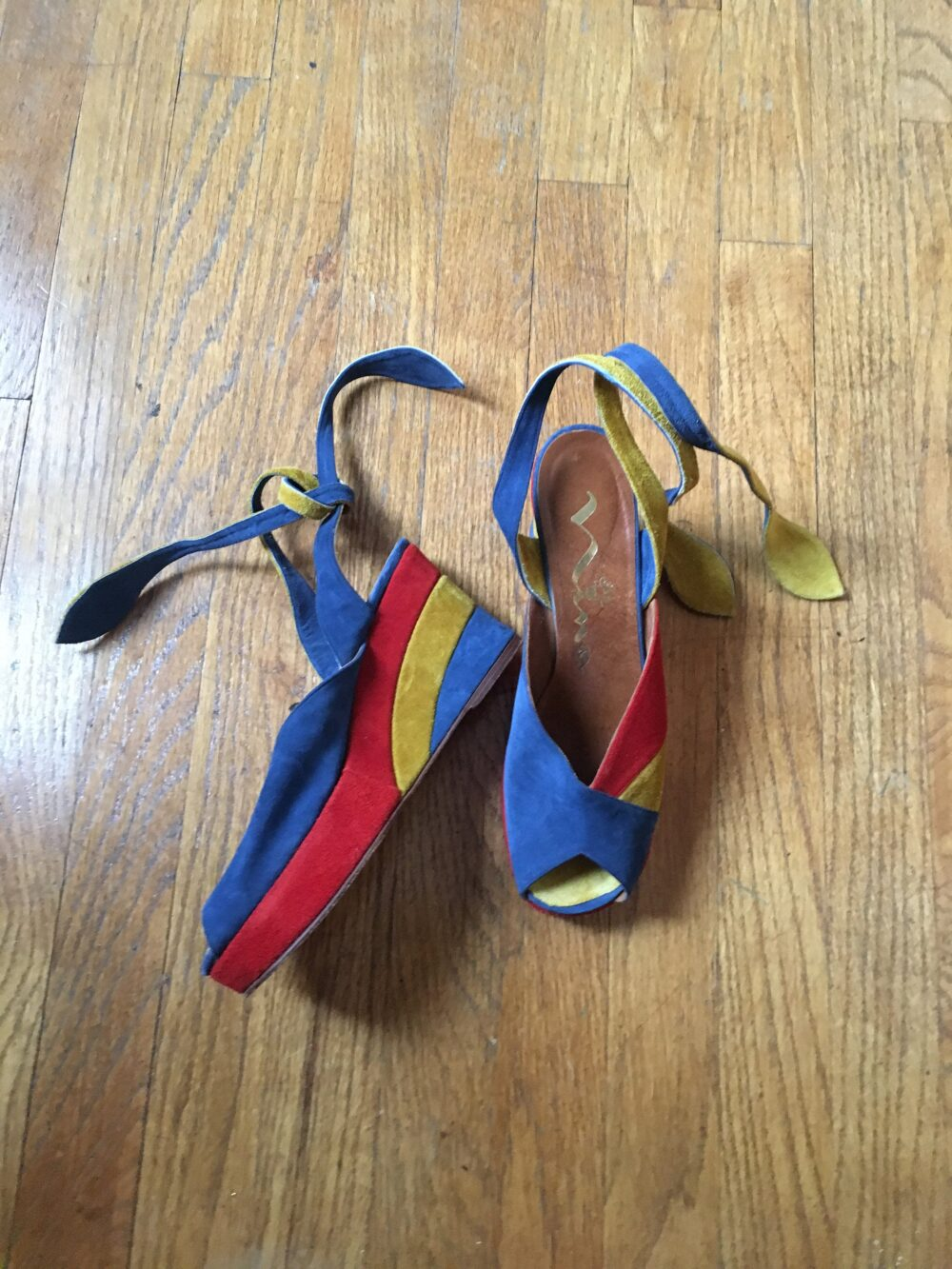 Vintage Nina Red, Yellow, Blue Color Block Primary Suede Wedges