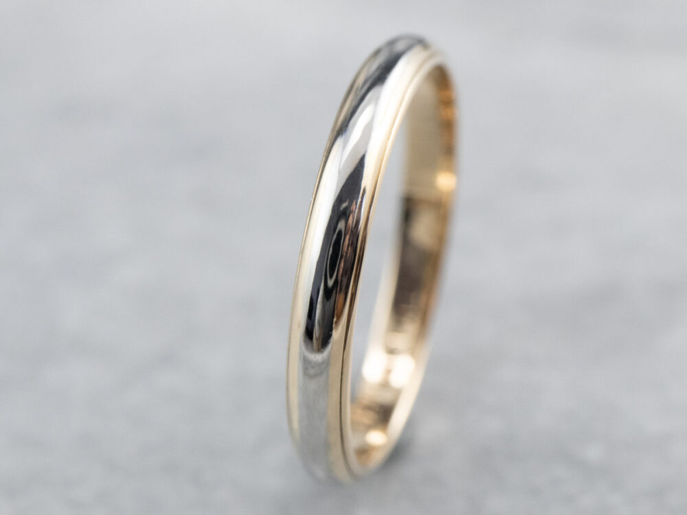 Two-Tone Gold Band, Yellow & White Gold, Simple Stacking Wedding 14K Band 2T332Ujh