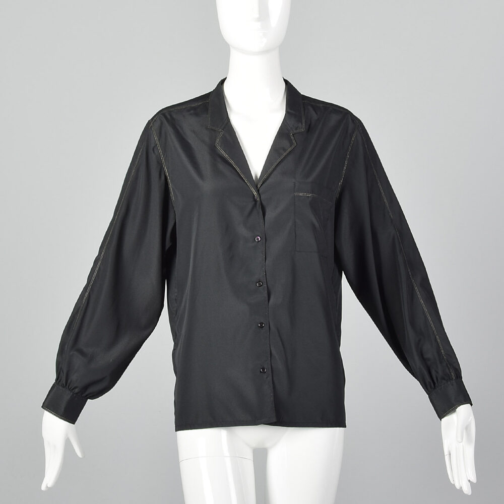 Large Rodier Paris Black Blouse Lightweight Silky Feel Gold Metallic Topstitching Patch Pocket Long Sleeves Vintage 1970S Womens Button Down