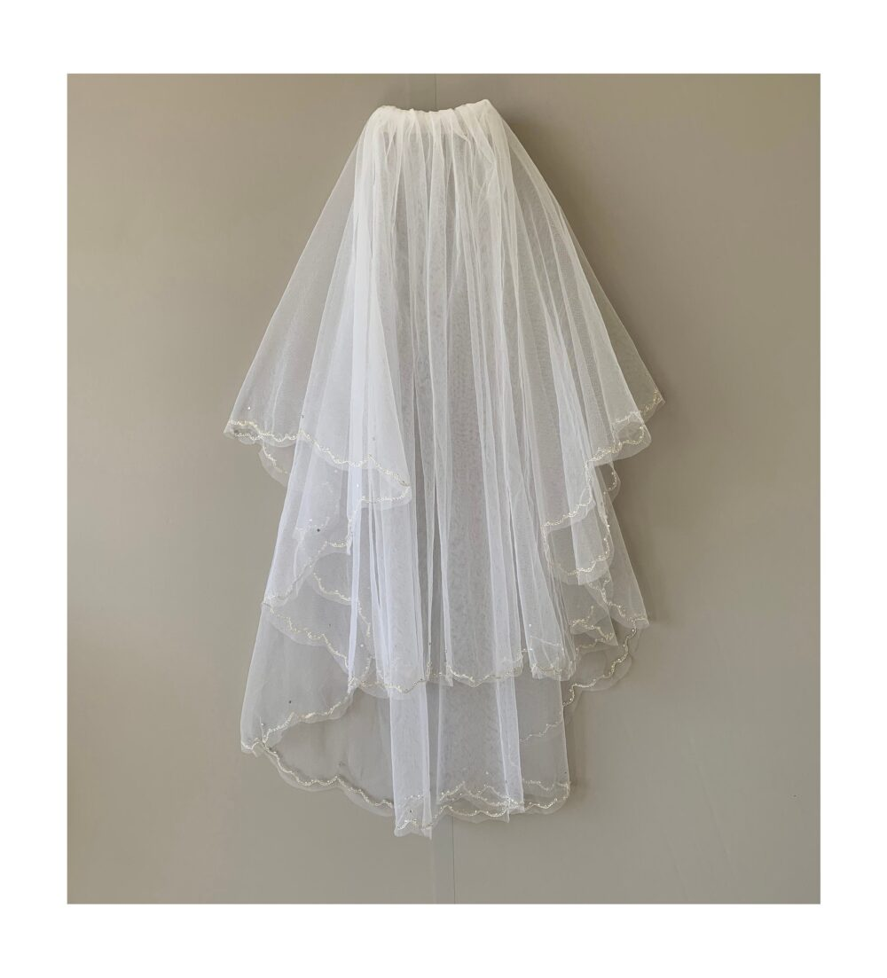 Beaded Wedding 2 Tiered Veil | Bridal Tulle Layer
