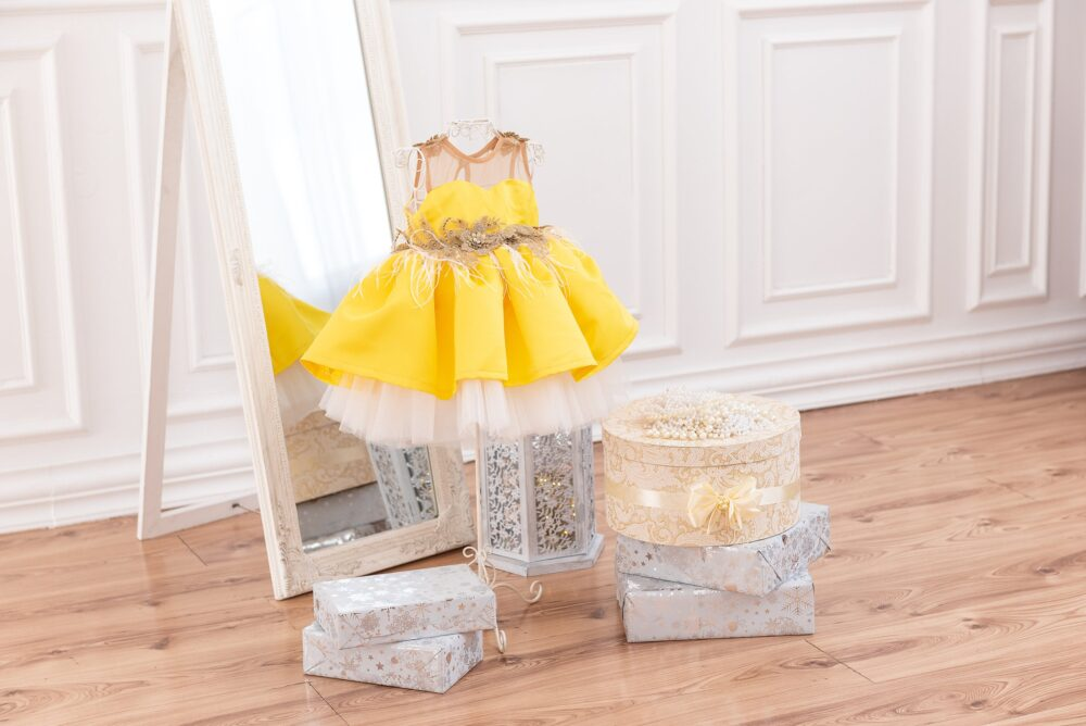 Yellow Girl Dress, Baby Toddler 1st Birthday Princess Tutu Photoshoot Flower Dress