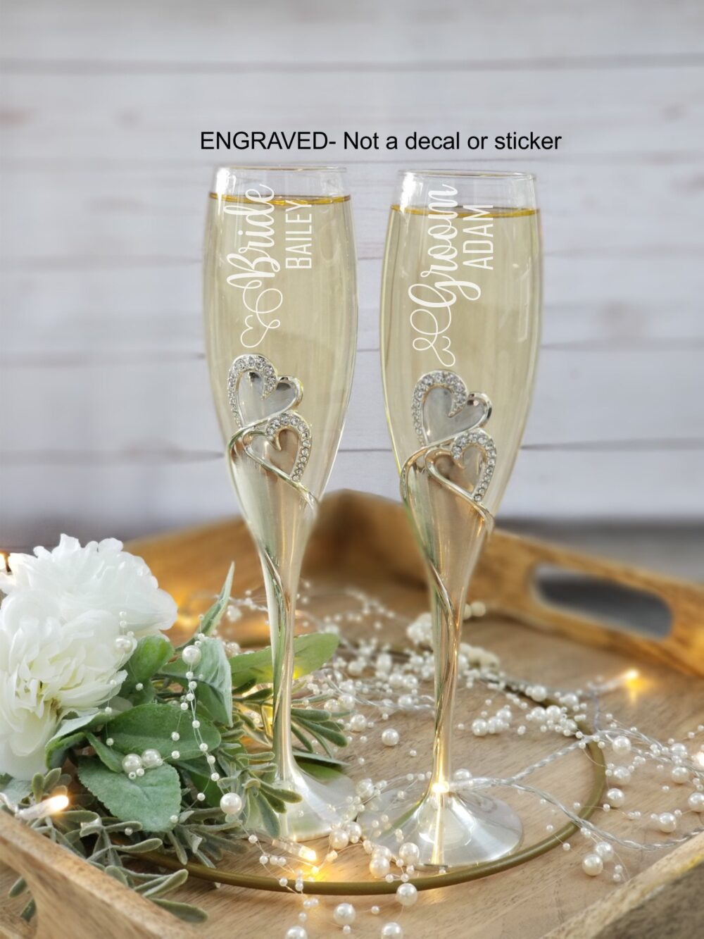 Set Of 2, Wedding Champagne Flutes, Bride Groom Personalized Glass, Toasting Favors, Gift For Couples