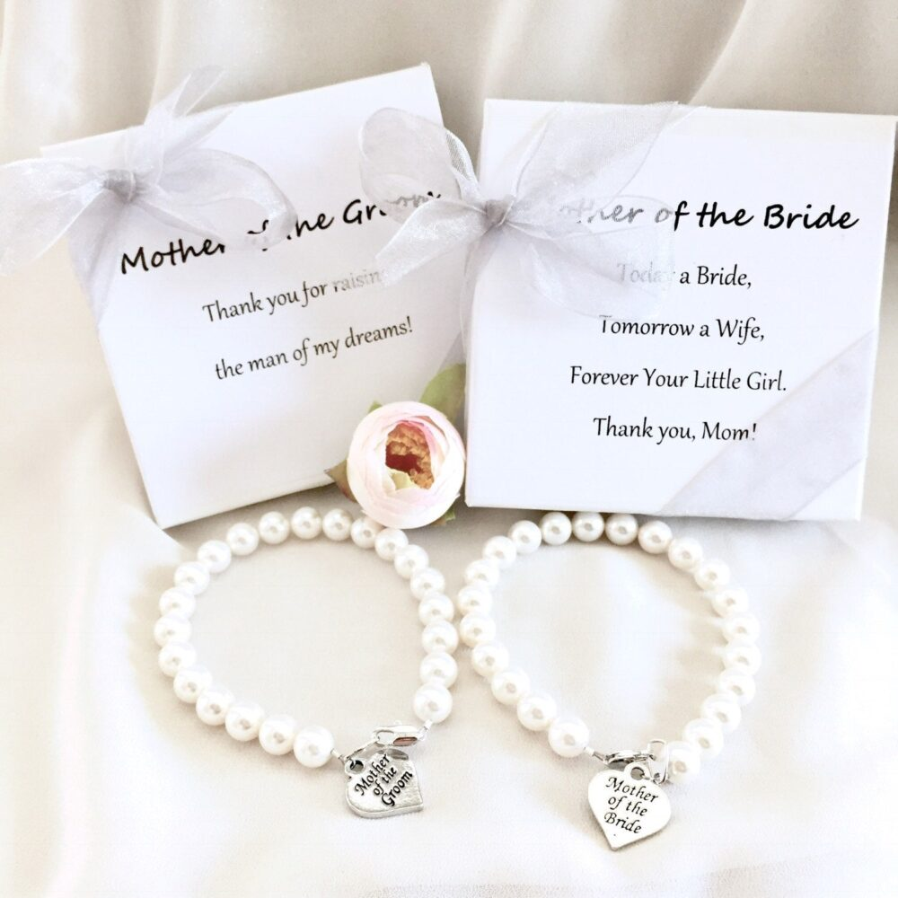 2 Mother Of The Bride Pearl Strand Bracelet, Groom Wedding Gift Memorable Jewelry