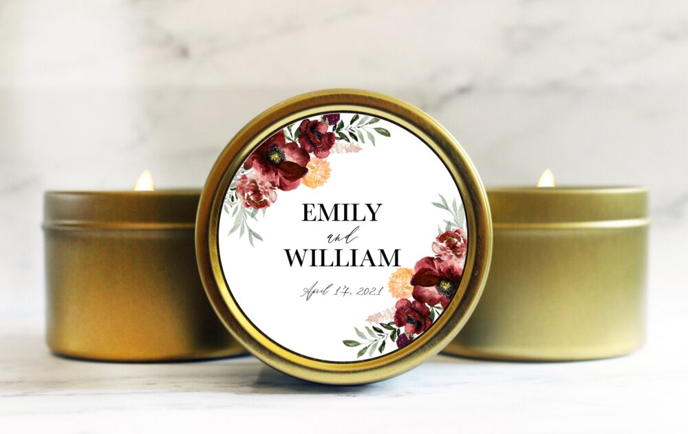 Fall Wedding Favors - Autumn Floral For Guests Personalized Candles