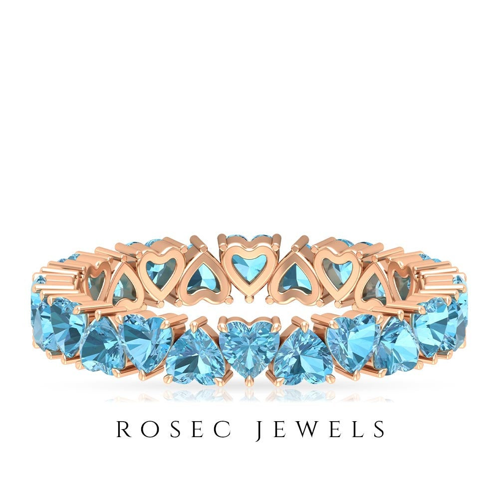 3.00 Mm Heart Shaped Lab Created Aquamarine Band, Eternity Band Ring, Gold Wedding | Aaaa Quality