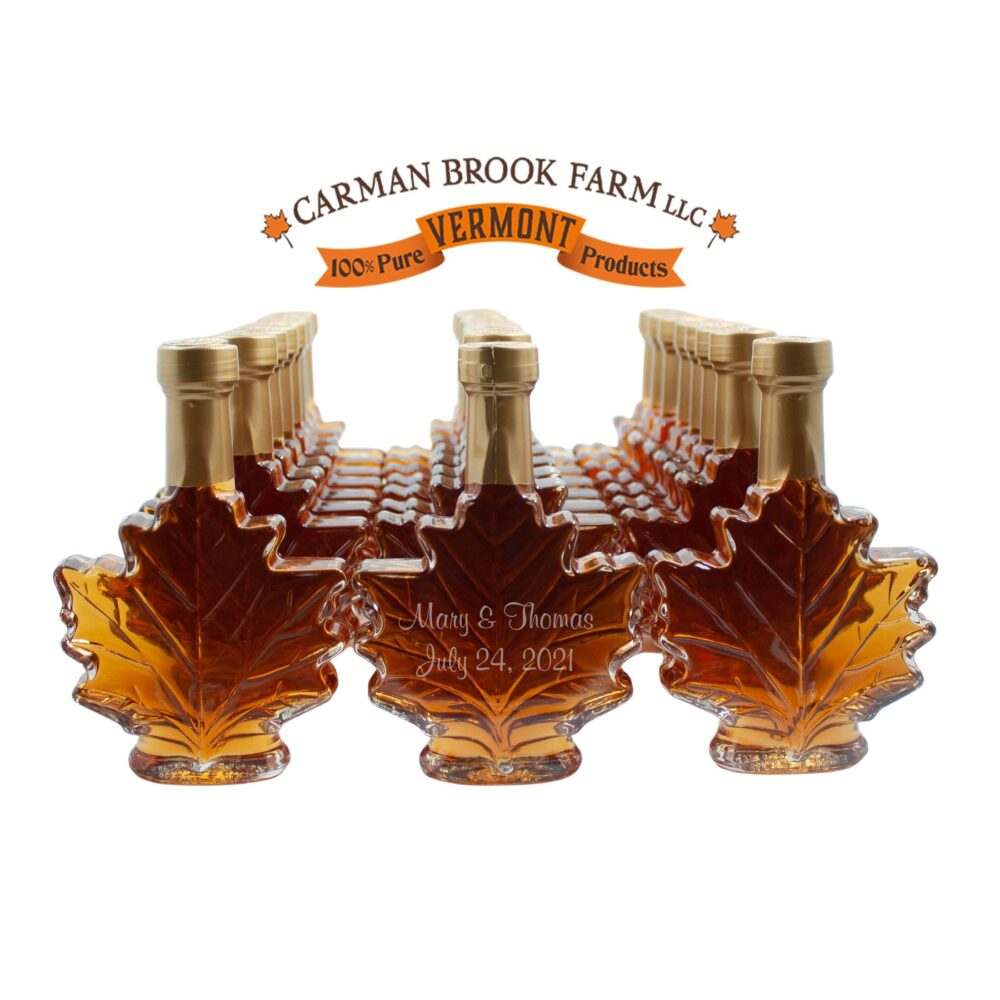 Engraved Wedding Favors | 24 | Vermont Maple Syrup Personalized Favor Bulk Gluten Free Vegan Food
