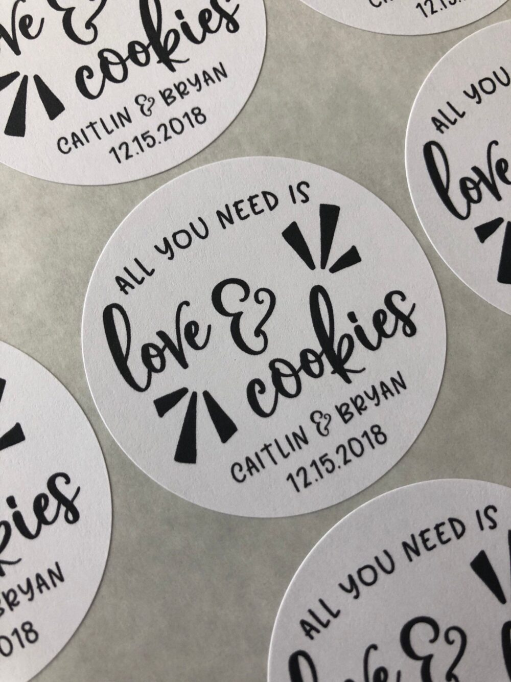 Cookie Favor Stickers, All You Need Is Love & Cookies