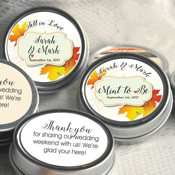 Fall Wedding Favors - Decor Personalized Mint To Be Favor Bridal Shower Leaves