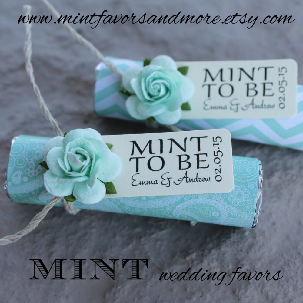 "Mint Wedding Favors - Set Of 110 Mint Rolls ""Mint To Be"" With Personalized Tag Mint, Green, Pale Pink"