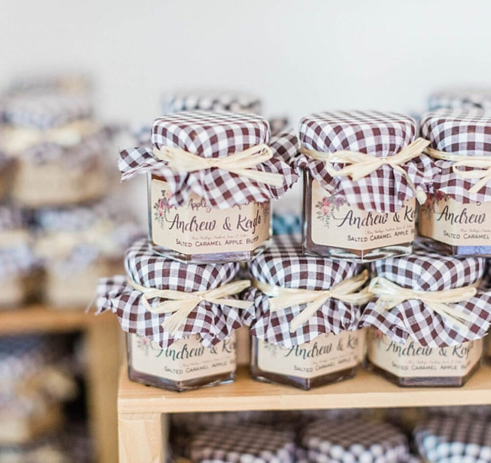 Rustic Burlap Jam Wedding Favors, 10-15 | 1.5Oz Or 2Oz Jars Personalized Favor, Edible Micro Guest Favors