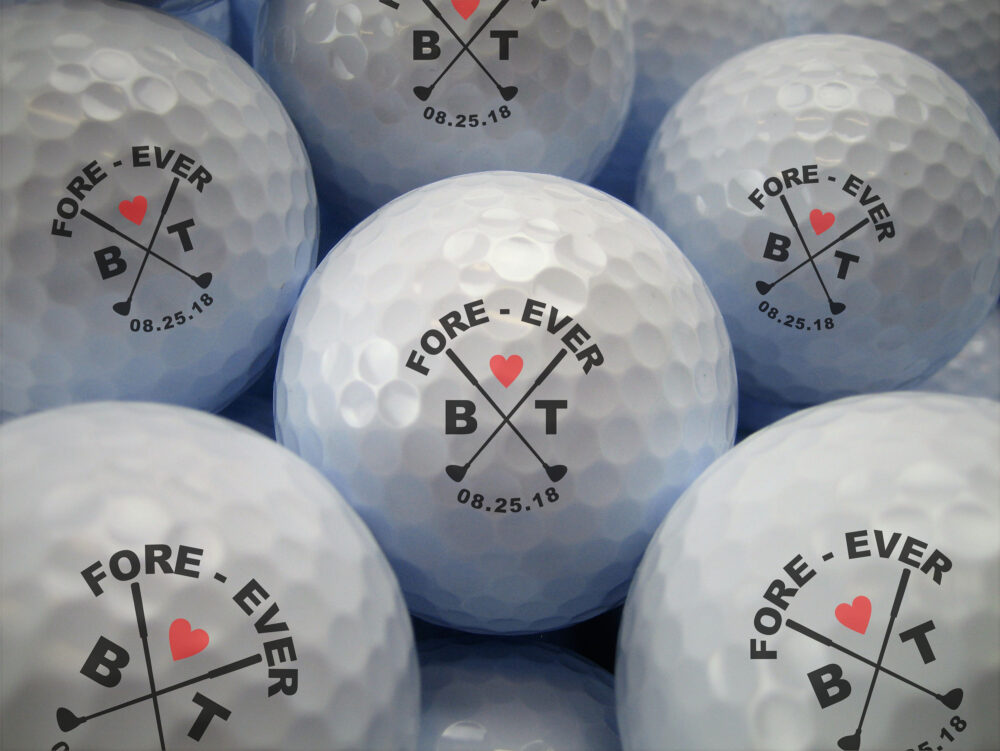 Custom Golf Ball Wedding Favor- Personalized Balls- Bulk Pricing- Fore-Ever Printed Favor - Tournament
