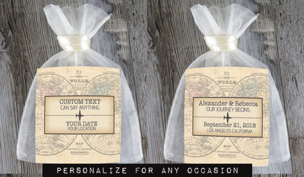 Tea Favors 10 Personalized & Fully Assembled | Any Occasion Wedding Favor Party Bridal Shower Vintage Map - Tf Vm