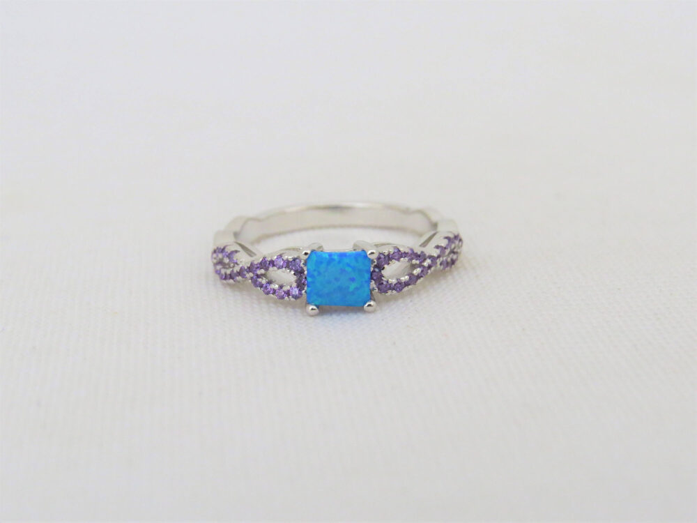 Vintage Sterling Silver Blue Opal & Amethyst Infinity Band Ring Size 6