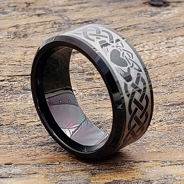 Black Claddagh Ring, Celtic Tungsten Friendship Heart Knot Wedding Band, Band