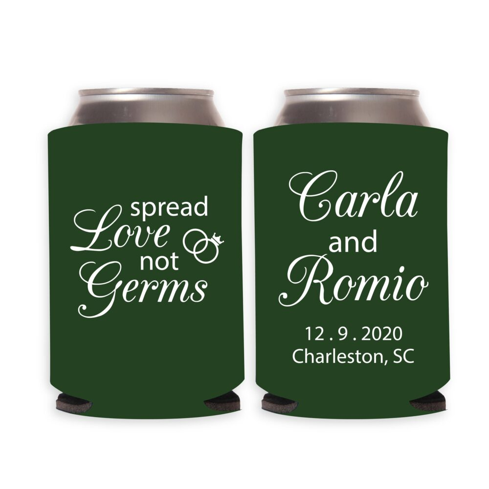 Spread Love Not Germs Custom Wedding Can Coolers, Cooler Favors, Customized Coolers | 16