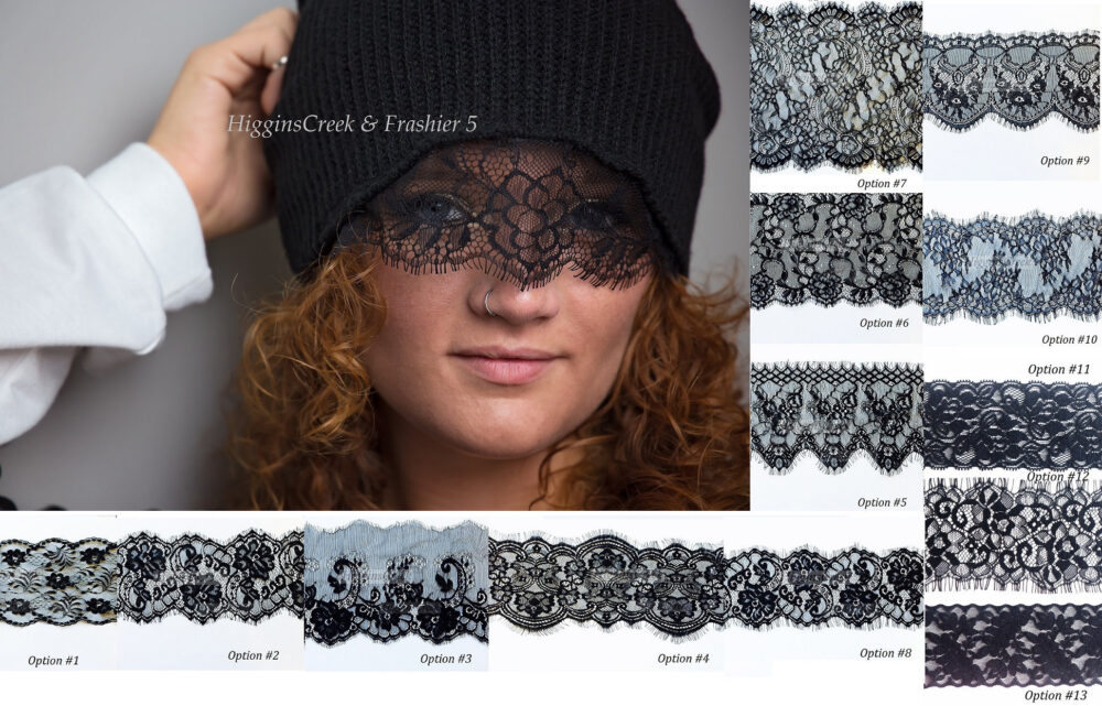 Perfect Christmas Stocking Gift, Girls Gift Black Beanie With Lace Trimmings