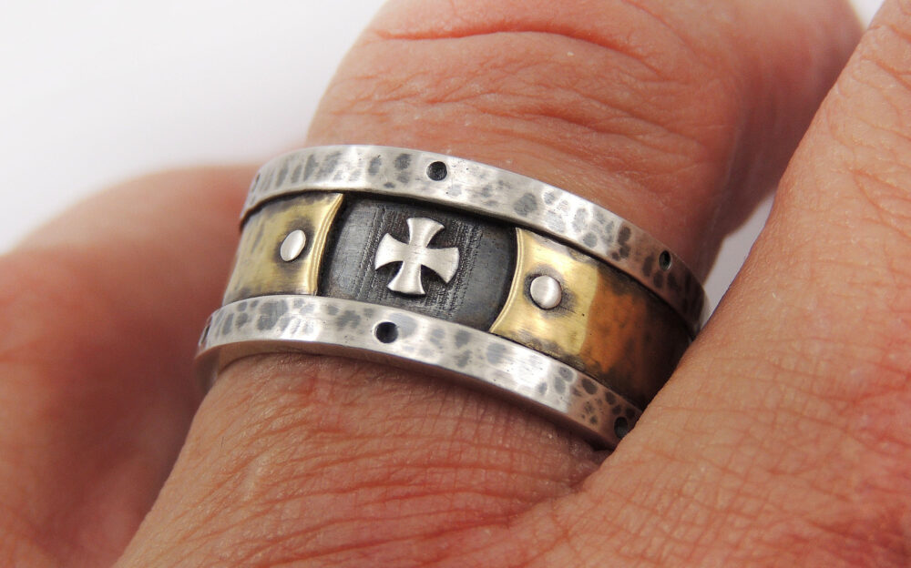 Mens Templar Cross Band Ring, Religious Christian 14K Gold & Silver Rustic Wedding Band, Engagement Ring