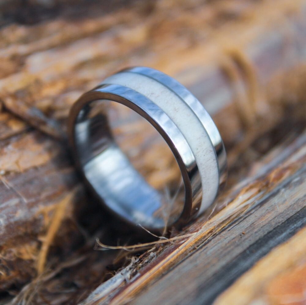 Comfort Fit Titanium & Deer Antler Ring - Men's Or Women's Wedding Band, Promise Ring, Unique Rustic Style, Silver