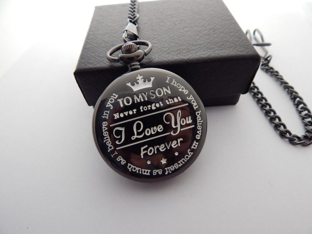 Personalized Pocket Watch To My Son Gift Custom Groom Wedding Favor Time Machine Roman Numerals Quotes From Mom