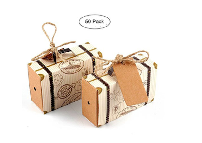 50 Destination Wedding Favor Boxes Traveling Going Away Party Graduation Celebration Travel Suitcase Birthday Luggage Candy Box