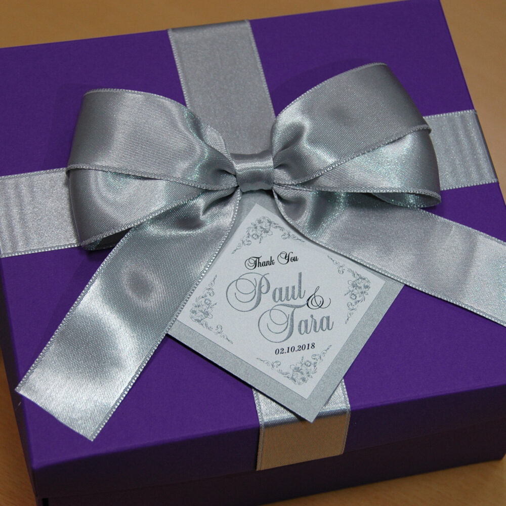Silver & Purple Wedding Favor Boxes, Elegant Personalized Gift Box With Satin Ribbon Bow & Tag, Wedding Ideas For Guests