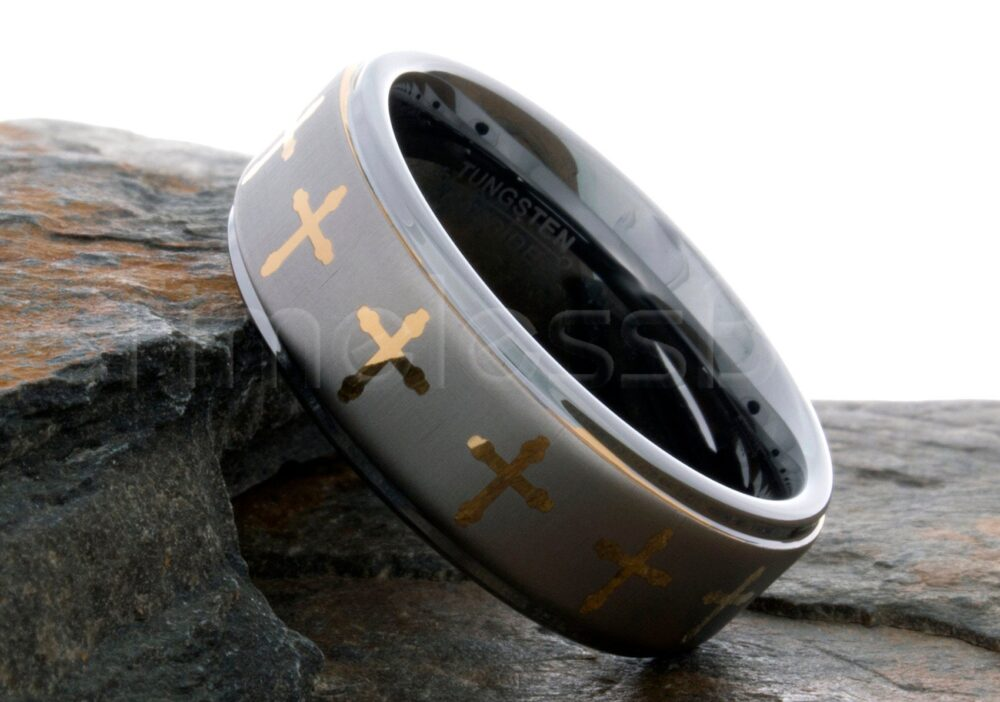 Tungsten Ring Wedding Mens Womens Band 8mm Brushed Center Gold Cross Engraving Anniversary Laser