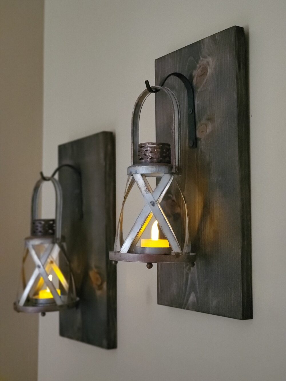 Lighted Wall Sconce | Rustic Lantern Home Decor Candle Farmhouse Holder