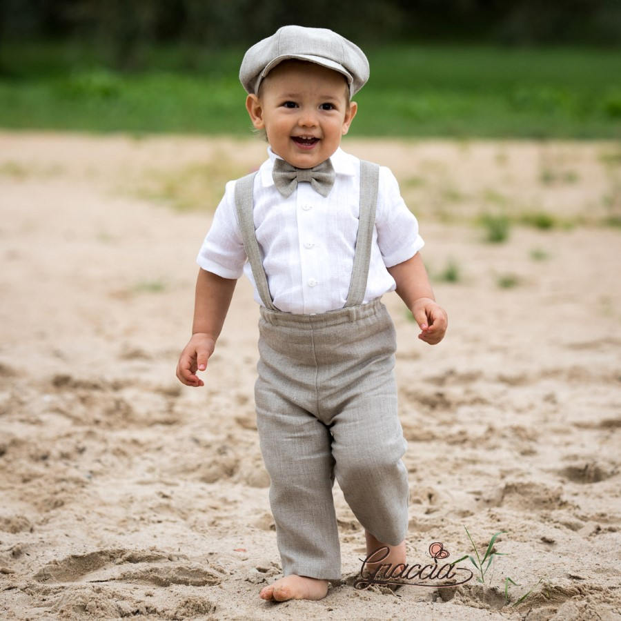 Baby Boy Wedding Suit Ring Bearer Newsboy Outfit Linen Pants Suspenders Newsboy Hat Boy Natural Color