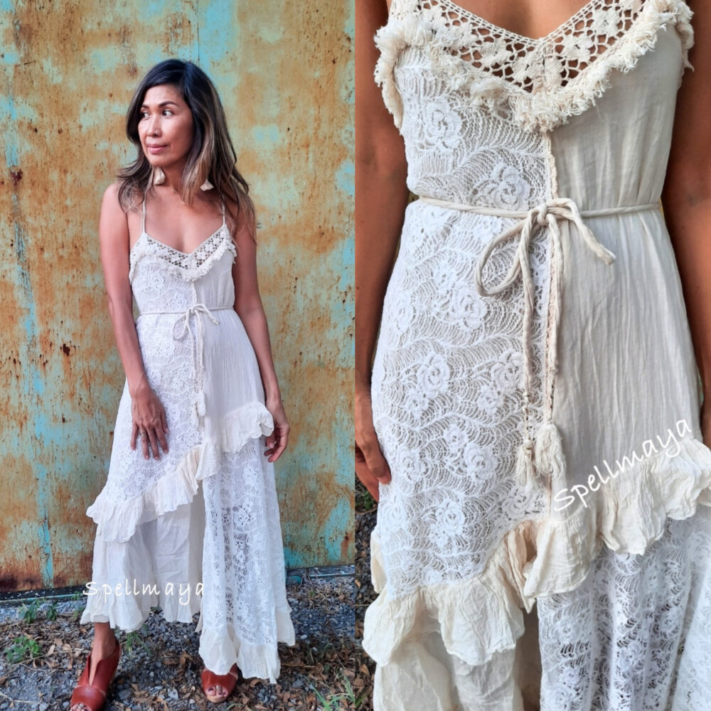 Bohemian Spaghetti Strap Wedding Dress, Boho High Low Lace Dress, Ruffle Cotton Dress, Photo Shoot Dress, White Wedding Gown Dress
