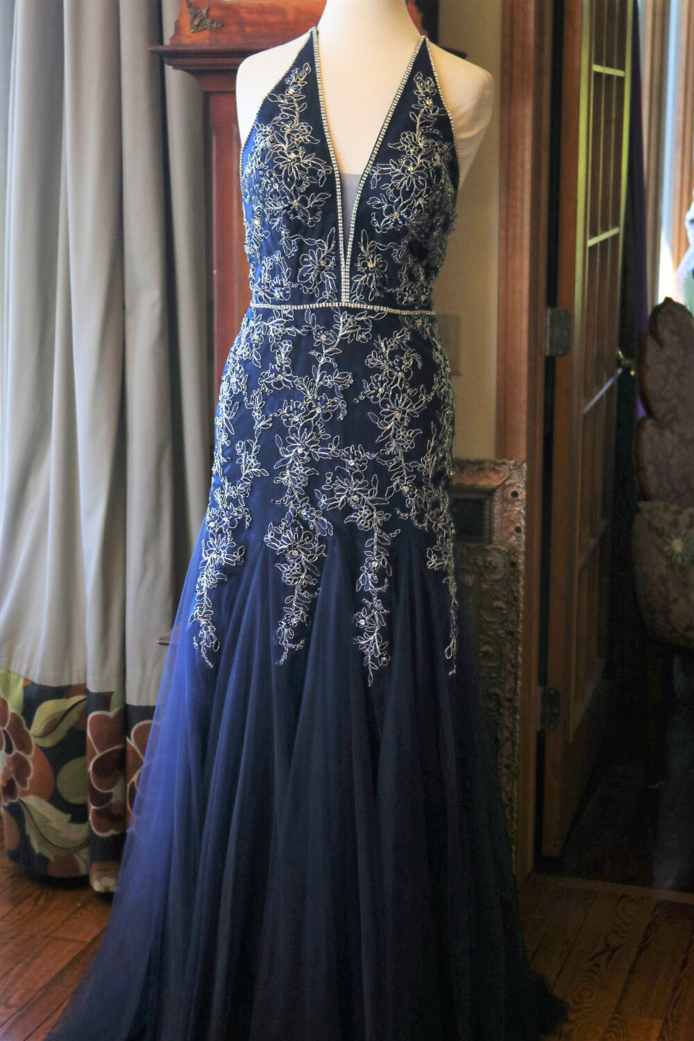 1920S Inspired Flapper Beaded Wedding Dress Downton Abbey Bridal Gown Navy Blue Flapper Tulle Lace Rhinestones