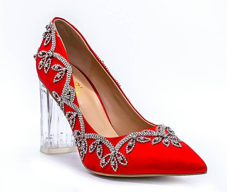 Red Satin Beaded Bling Crystal Rhinestone Bridal Wedding Prom Party Special Occasion Women's Block Heel Shoes. Great For Valentine's Day