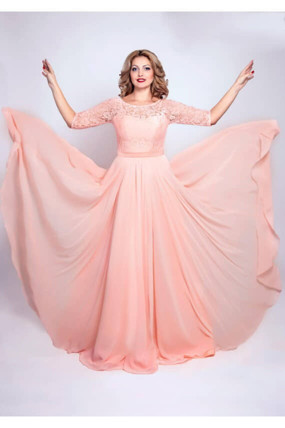 Plus Size Blush Pink Wedding Guest Dress Long Evening Gown Infinity Light Chiffon Quinceanera Prom