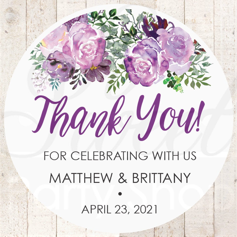 Wedding Favor Stickers, Thank You Sticker Labels, Bridal Shower Favors Purple Floral - Set Of 24 Stickers