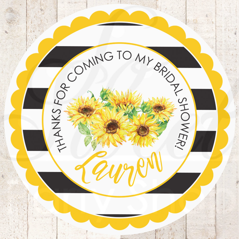 Bridal Shower Sticker Favors Sunflower Wedding Favor Stickers, Thank You Labels - Set Of 24 Stickers