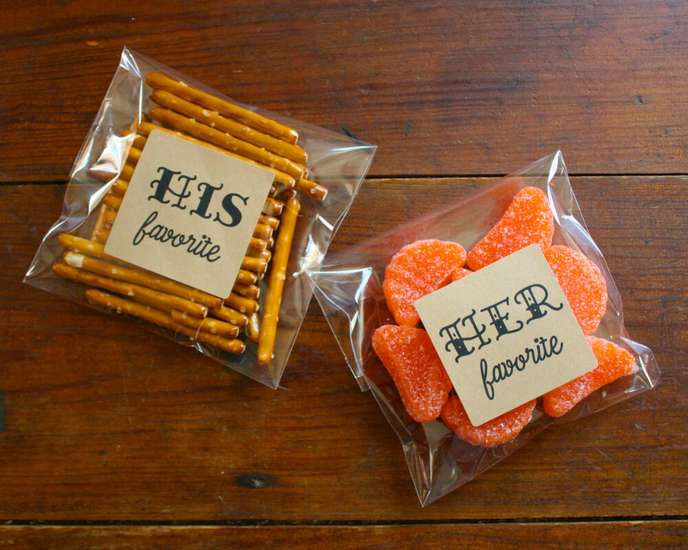 His & Her Favorite Favors - 10 Hers, Wedding Favor Stickers, Labels, Matte White Or Kraft Brown, Hotel Welcome Bag Favors