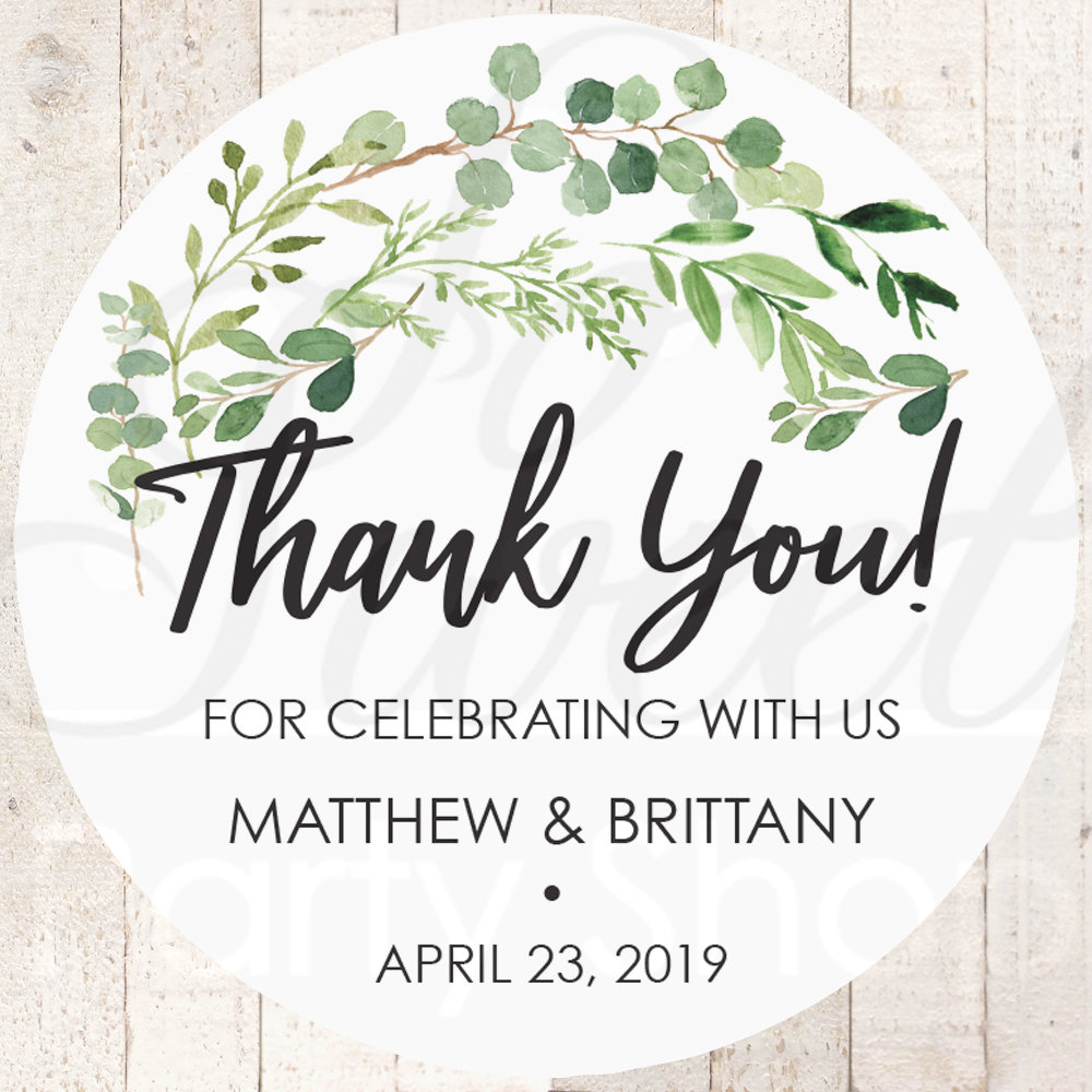 Wedding Favor Stickers, Thank You Sticker Labels, Bridal Shower Favors Greenery Leaves - Set Of 24 Stickers