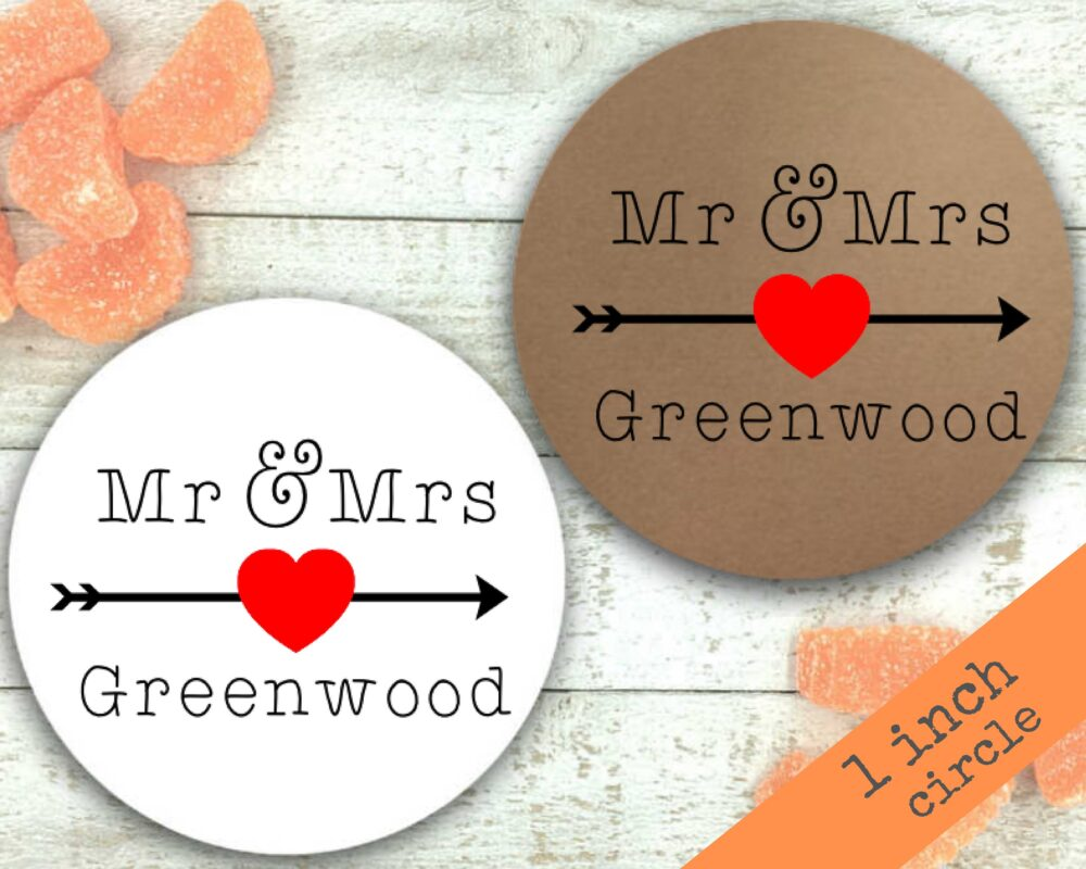 Personalized Wedding Favor Stickers - 63 Custom Labels, 1 Inch Round Stickers Matte White Or Kraft Brown Shower, Engagement, Party Favor