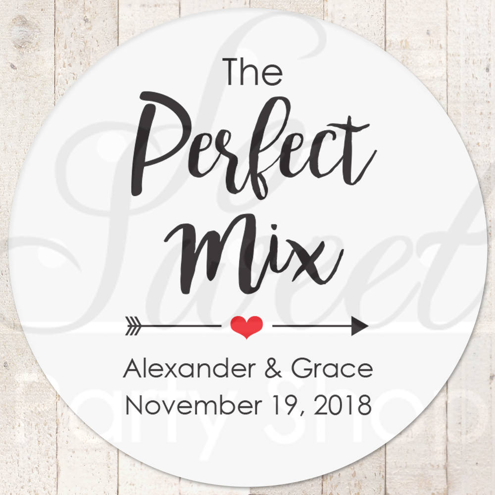The Perfect Mix Sticker, Wedding Favor Stickers, Treat Bag Sweet & Salty, Favorite Snack Stickers - Set Of 24