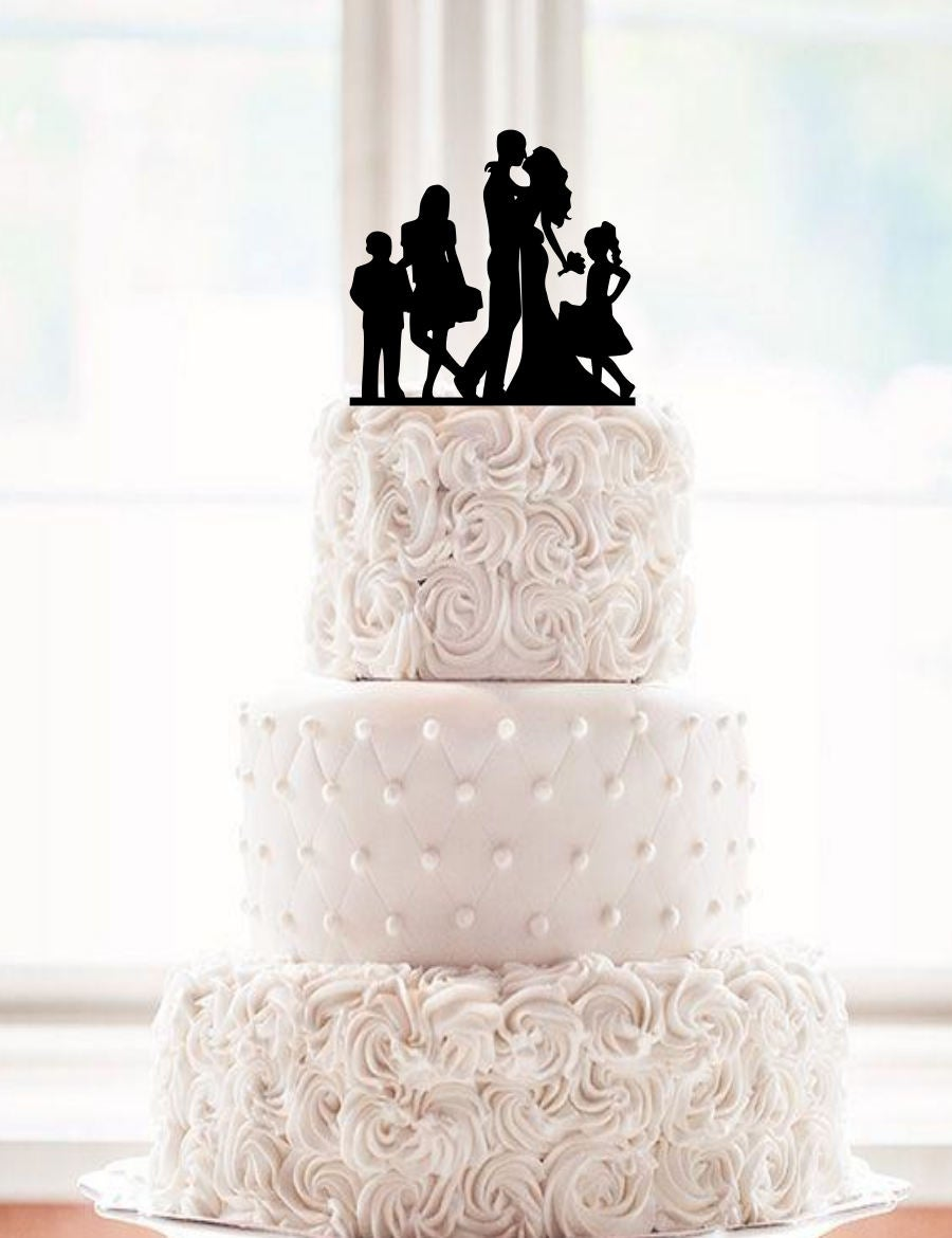 Family Cake Topper, Wedding, Wedding Silhouette Cake, Topper With Kids, Son, C