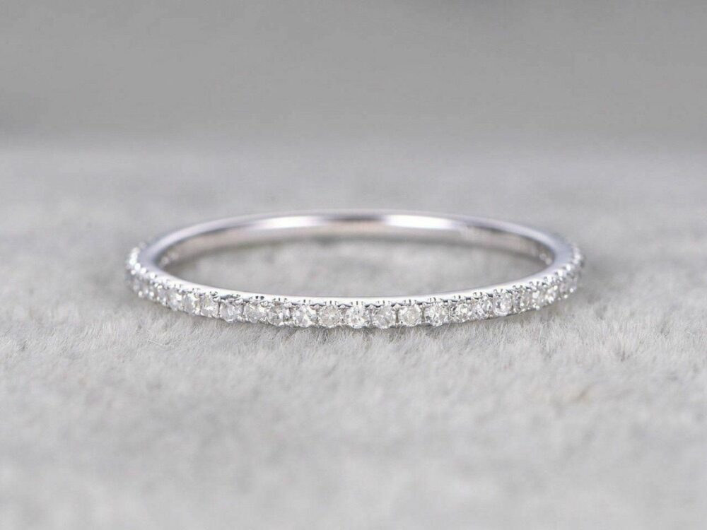 1.00 Ct Round Simulated Diamond Eternity Rings in 14K White Gold Over Micro Pave Wedding Silver Band