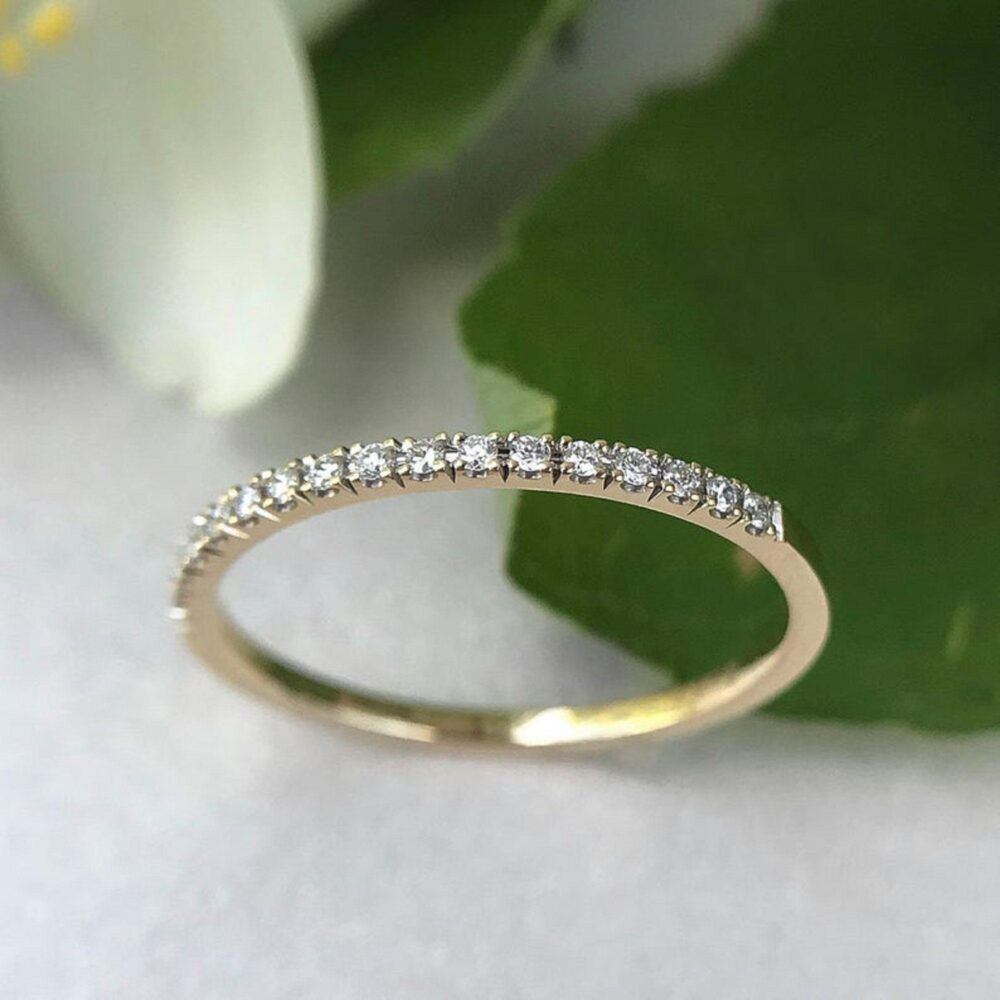 0.25Ct Round Cut Simulated Diamond Micro Pave Eternity Wedding Silver Band Ring, Rings For Women